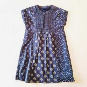 Gap Chambray Blue Pleated Bodice Floral Dress EUC